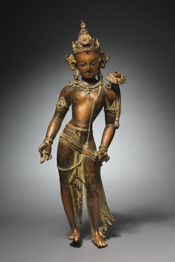 Bronze with gilding, pigment, and semiprecious stones; overall: 62 cm (24 7/16 in.). The Cleveland Museum of Art