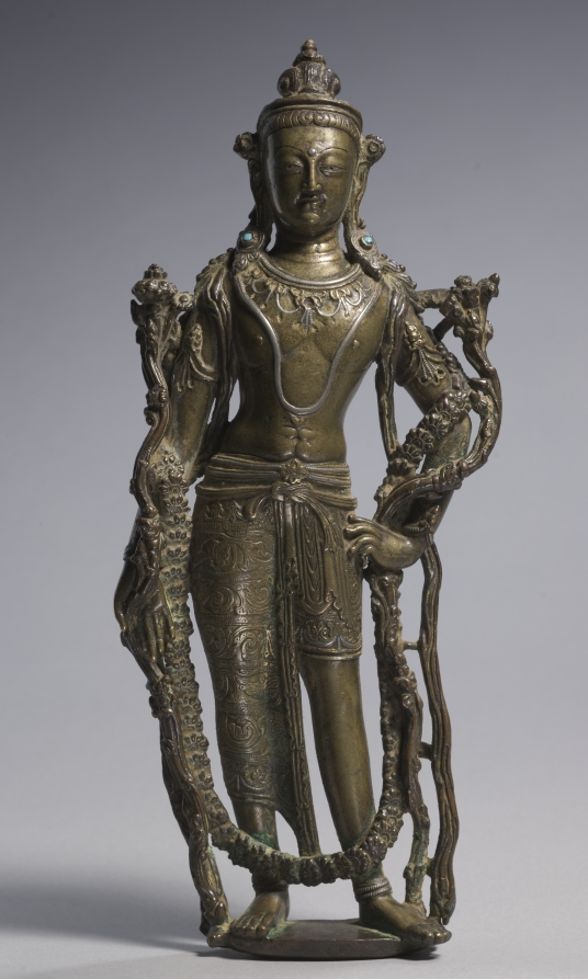 Brass inlaid with silver and gold; overall: 26.2 cm (10 5/16 in.). The Cleveland Museum of Art