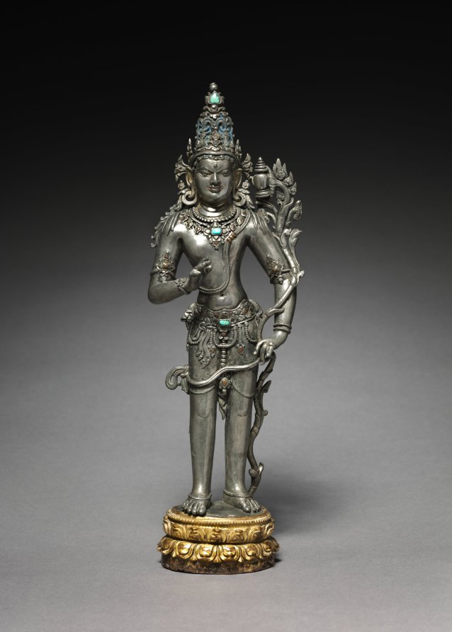 Silver inlaid with turquoise, copper, brass and gold; gilt bronze lotus; overall: 32.4 cm (12 3/4 in.). The Cleveland Museum of Art